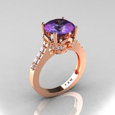 Classic 14K Rose Gold 3.0 Carat from artmasters on Etsy