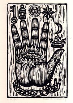 The Philosopher's Hand Woodcut Art Print - Hand of Mystery Print - Free Mason Art - Home Decor - Woodblock Linocut Print - Occult Art Woodcut Tattoo, Woodcut Art, Linocut Prints, Art Prints, Masonic Art, Esoteric Art, Occult Art, Medieval Art, Printmaking