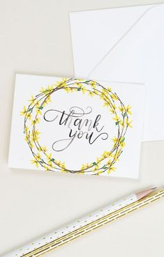 business thank you cards Thank you card with forsythia and watercolor calligraphy. The set includes 8 thank you cards and 8 white envelopes. Calligraphy Cards, Thank You Caligraphy, Calligraphy Birthday Card, Watercolor Cards, Calligraphy Watercolor, Wreath Watercolor, Thank You Card Design, Handmade Thank You Cards, Card Drawing