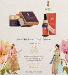 Rupal Shubam Tyagi Nehtaur cordially invites you to Royal Fables, Season 8 An exhibition of heritage textiles, jewels and art created by the royal families of India. October Oval Room at The Mansion, Hyatt Regency, New Delhi All Natural Skin Care, Organic Skin Care, Aromatherapy Products, Season 8, Royal Families, Body Butter, Regency, Mansion, Invites