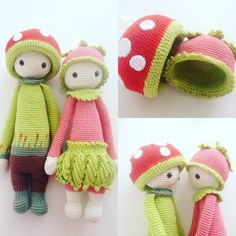 Paul the toadstool and his girlfriend made by Claire M. / crochet pattern by lalylala
