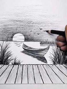 3d Art Drawing, Art Drawings For Kids, Art Drawings Sketches Simple, Pencil Sketches Easy, Landscape Pencil Drawings, Pencil Art Drawings, Landscape Sketch, Art Drawings Beautiful, Diy Canvas Art