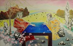 'Idyll' by Wang Fu, 2010 Charcol and Oil on canvas, 170x270cm