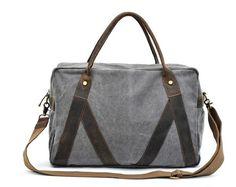"""Gray Leisure single shoulder denim bag Leather Messenger Bag Canvas Camera Bag 14"""" Laptop Bag"""