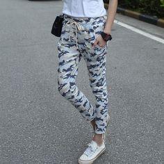 Nova moda outono M-XXL Plus Size camuflagem impresso Womens Harem Pants 2016 nono Capris casuais calças largas