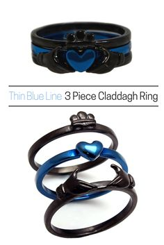 The most versatile claddagh ring! Can be worn all together or in any combination of the three