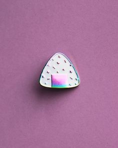 Rainbow Confetti Onigiri Soft Enamel Pin - Oil Slick Anodized Plating