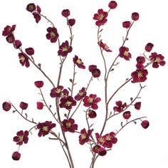 Cost Plus World Market Burgundy Velvet Plum Blossoms, Set of 2 ($16) via Polyvore