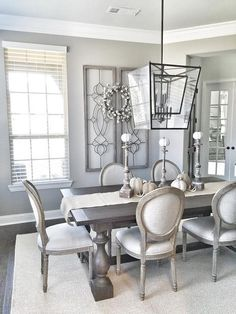 30 Amazing Modern Farmhouse Dining Room Decor Ideas - Page 17 of 30 - I love the windows as art! Farmhouse Chic Dining Room, Chic Dining Room, Dining Room Furniture, Dining Room Inspiration, Dining Table Design, Home Decor, Farmhouse Dining Rooms Decor, Dining Room Walls, Grey Dining Room