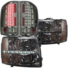 Chevy Silverado 2007-2013 Smoked LED DRL Headlights and LED Tail Lights…