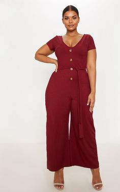 4c48c4d3a4802 The Plus Burgundy Ribbed Tie Waist Jumpsuit. Head online and shop this  season s range of plus size at PrettyLittleThing.