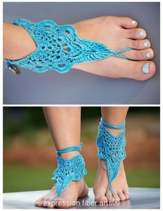 "how to crochet these ""flutterby"" crochet barefoot sandals"