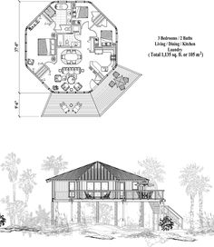 , 3 Bedrooms, 2 Baths, Piling Collection by Topsider Homes Stilt House Plans, House On Stilts, Round House Plans, House Floor Plans, Sims Challenge, Octagon House, Hotel Floor Plan, Craftsman Floor Plans, Tree Plan