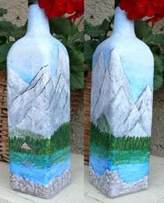 Painted mountains on the bottle (something like the High Tatras...)