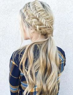 """""""Date night hair>>double braided ponytail. Side Braid Hairstyles, Summer Hairstyles, Pretty Hairstyles, Hairstyles 2018, Amazing Hairstyles, Blonde Hairstyles, Formal Hairstyles, Ponytail Styles, Braided Ponytail"""