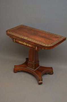 Excellent Regency Brass Inlaid Rosewood Card Table - Games Table. Restored and ready to be placed in your home. C1810