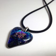 #ValentineHeart Pendant #freepriorityshipping Valentine Gift / Fairy Heart / Sparkly Purple, Magenta & Black Glass Heart Pendant / Fused Dichroic Glass  Silver Snake Chain by cyvonneh on Etsy
