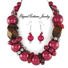 Image detail for -BIG RED PEARL & WOOD BEAD Chunky Necklace Set Elegant Costume Jewelry ...
