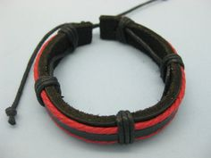 Shoply.com -Leather bracelet by Red and Black rope and leather made  NEW. Only $3.99
