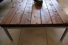 "Minwax ""English Chestnut"" DIY wooden coffee table with IKEA coffee table legs."