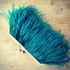 b914ef6dc1f0 Ostrich Feather Clutch Emerald Green by SaraCaccessories on Etsy