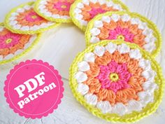 Round Flower Coaster Tutorial Pattern PDF DUTCH par ColornCream