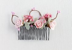 Pink Bridal Head Piece Woodland Hair Comb Rustic by HandyCraftTS, $25.00