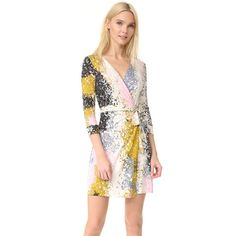 Diane Von Furstenberg New Julian Two Mini Dress (18,535 INR) ❤ liked on Polyvore featuring dresses, stripe dresses, jersey wrap dress, striped dress, short silk dress and short dresses