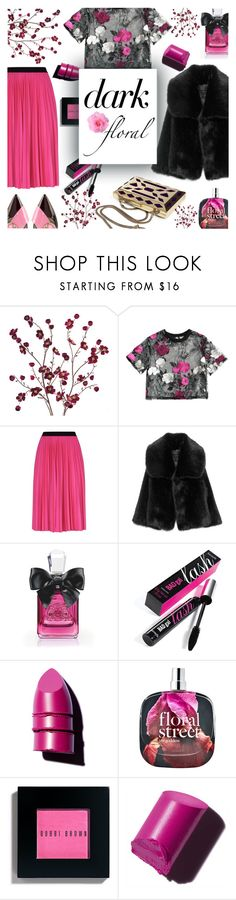 """dark floral."" by ezgi-g ❤ liked on Polyvore featuring Cost Plus World Market, Pinko, Juicy Couture, Benefit, Anastasia Beverly Hills, Bobbi Brown Cosmetics and Delpozo"