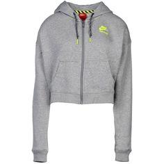 Nike Sweatshirt ($77) ❤ liked on Polyvore featuring tops, hoodies, sweatshirts, jackets, light grey, logo sweatshirts, long sleeve tops, zipper sweatshirt, nike sweatshirt and long sleeve cotton tops