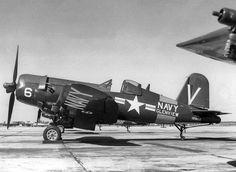 A Navy F4U-5 Corsair at NAS Glenview in Illinois (ca. 1950)