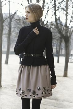 embellished skirt with a sweater for winter