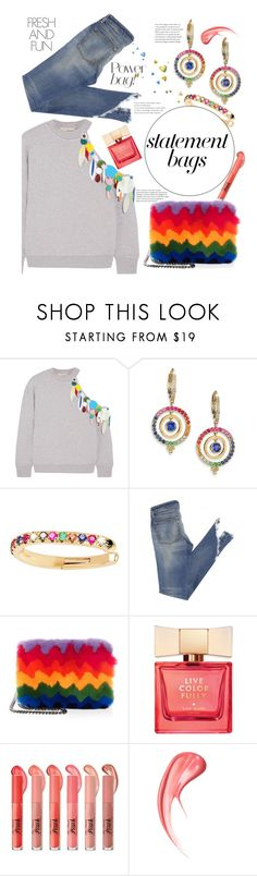 """""""Arm candy: statement bags💥"""" by meganvee ❤ liked on Polyvore featuring Christopher Kane, Temple St. Clair, EF Collection, Les Petits Joueurs, Kate Spade, Too Faced Cosmetics and statementbags"""