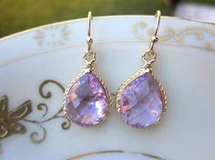 Lavender Gold Earrings...perfect for bridesmaids!
