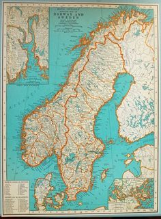 1937 Vintage Map of Norway and Sweden - Vintage Norway Map - Vintage Sweden Map… Sweden Map, Norway Map, Old World Maps, Old Maps, Vintage Maps, Antique Maps, Map Globe, Scandinavian Art, Historical Maps