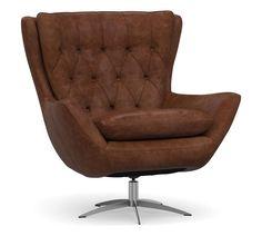 Wells Tufted Leather Swivel Armchair | Pottery Barn