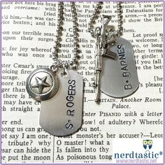 "---------- Qualifies for Free US Domestic 1st Class Shipping ----------  This dog tag necklace is hand stamped with ""S. ROGERS"" or ""B. BARNES"" along with an identifying charm.  This design can be purchased in single tags or pairs if you and your BFF share a love of Captain America & Winter ..."