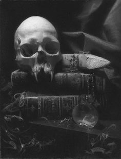 still life #skull #books #monochrome