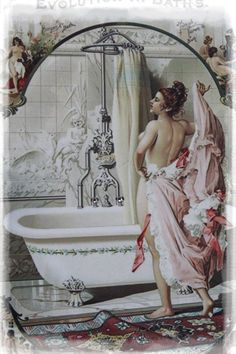 """Evolution in Baths"" Vintage~Shabby Chic~Country Cottage style-Wall $16.99"