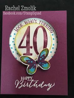 "Birthday spinner card with Stampin' Up! The Number of Years stamps fit so well with the Sliding Star framelits! ""Look who's turning"" (see what I did there?) Add a watercolor wings butterfly in Rich Razzleberry, Tempting Turquoise, and Delightful Dijon. Design by ScrappyZ 2016"