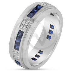 Diamond and sapphire mens wedding bands