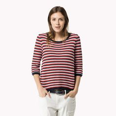 Tommy Hilfiger Cotton Striped Sweater - hibiscus / snow white / night sky (Red) - Tommy Hilfiger Knitwear - главное изображение