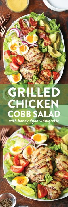 Swap a few things to make it keto. Grilled Chicken Cobb Salad - No more boring cobb salads! Made with the juiciest garlic rosemary chicken thighs and the most flavorful honey Dijon dressing! Damn Delicious Recipes, Healthy Recipes, Cobb Salad, Garlic Rosemary Chicken, Grilled Chicken Thighs, Dinner Salads, Soup And Salad, Chicken Recipes, Dressings