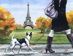 RAT TERRIER in PARIS Watercolor 8 x 10 Dog ART Print Signed by Artist DJR