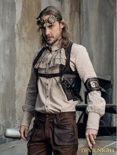 Brown PU Gear Steampunk Vest for Men .1.the fabric is PU leather  2.buckle belt on front is easy to wear-off  3.cross back with ring accents  4.with gear and cartridge case details .DevilNight.co.uk | We Ship Worldwide  #brownsteampunkvest #brownsteampunkputfits #steampunkpuvest #steampunkmalegearvest Male Steampunk, Steampunk Gears, Steampunk Costume, Steampunk Clothing, Steampunk Fashion, Victorian Fashion, Steampunk Characters, Steampunk Accessories, Women Wear