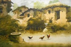 """""""Village Scape"""" a Great Artwork by Artist Soriful   Medium: Water Color on Paper & Size: 24"""" X 30""""  #Art #Paintings #IndianArt #Artwork"""