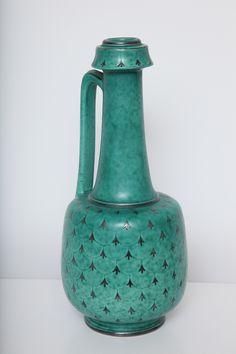 Wilhelm Kage; Glazed Ceramic 'Argenta' Stoneware Ewer for Gustavsberg, 1951.