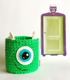 Monstros S. Crochet Basket Pattern, Knit Basket, Baby Knitting Patterns, Basket Weaving, Crochet Patterns, Thread Crochet, Crochet Dolls, Crochet Storage, Crochet Decoration