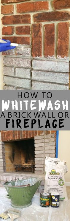 Loves the Find: How to paint whitewash (limewash) brick. Easy DIY whitewash recipe and step-by-step instructions. Loves the Find: How to paint whitewash (limewash) brick. Easy DIY whitewash recipe and step-by-step instructions. Painted Brick Fireplaces, Paint Fireplace, Paint Brick, How To Whitewash Brick, Fireplace Whitewash, Fireplace Update, Brick Fireplace Makeover, Fireplace Ideas, White Wash Fireplace Brick