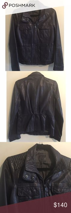"""GAP Navy Genuine Leather Moto Jacket Gap genuine leather navy moto jacket. This is the perfect fall/ winter jacket for any outfit. Made of 100% genuine leather. Has two side pockets and two upper pockets. Fully zipped. Measures from pit to pit 18""""/ length 24""""  NO TRADES, LOWBALL OFFERS WILL BE IGNORED GAP Jackets & Coats"""
